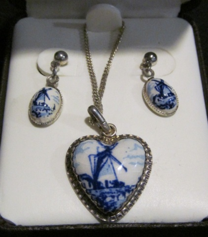 Necklace & Earring set - Sterling & Porcelain