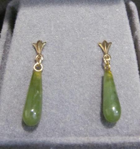10k Gold & Jade Earrings