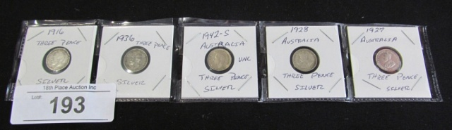Set of 5 Three Pence Silver Coins