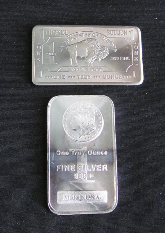 1 Troy oz. Buffalo Silver Bar, 1 Troy oz. Morgan Silver Bar