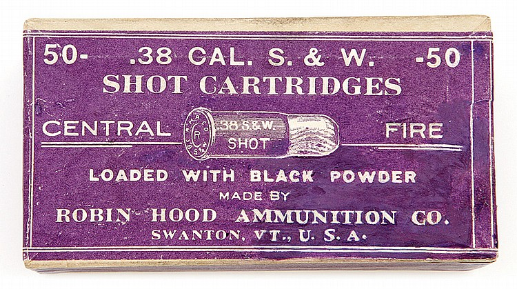 Sealed box of Robin hood 38 Cal shot cartridges