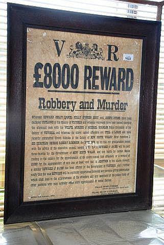 Reward poster for the Kelly gang, framed