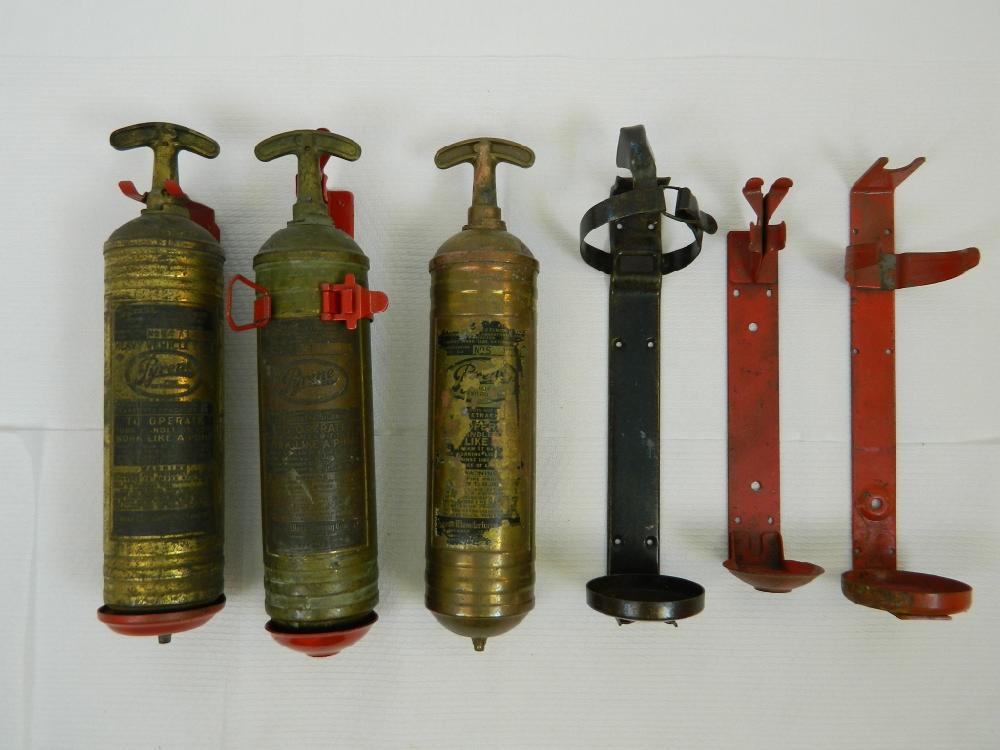 3 Vintage Brass Fire Extinguishers And 5 Holders