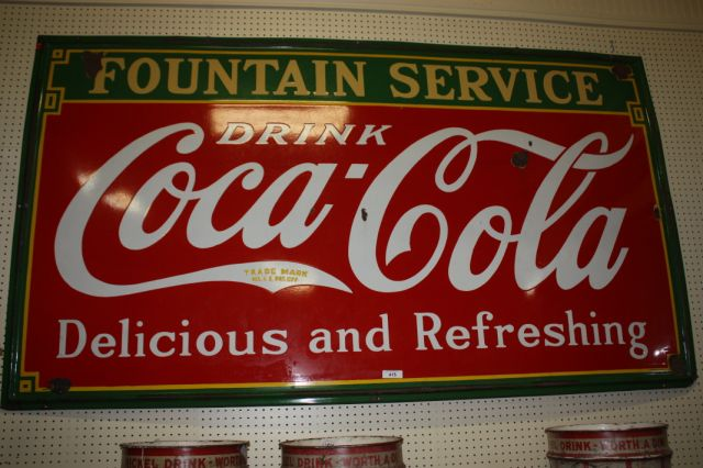 Coca Cola- Fountain Service Sign Porcelain