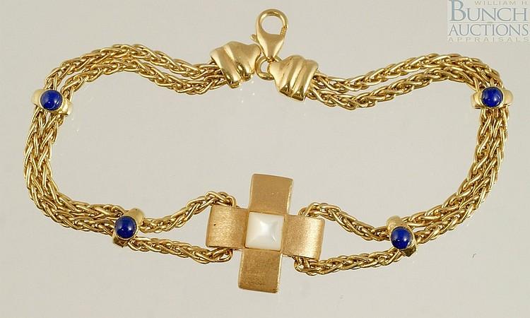 """18K YG bracelet, sapphires, Italy, 7"""", 5.1 dwt"""