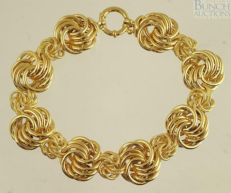 """14K YG bracelet, Milor, Italy, 7 1/2"""", 7.0 dwt"""