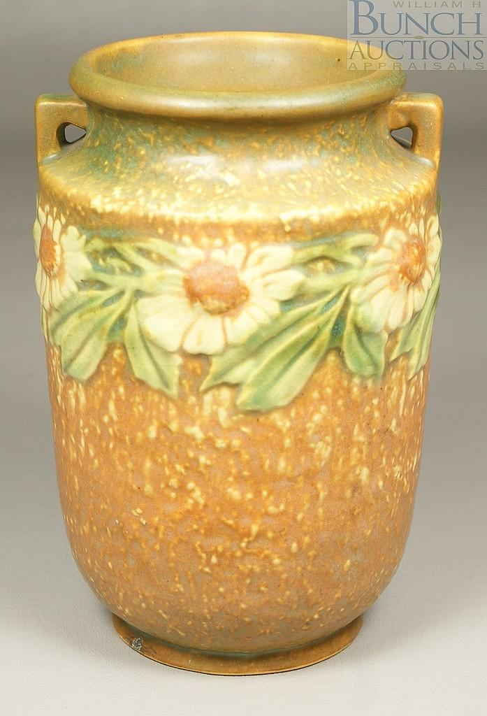 """Roseville Dahlrose Vase, 360-6, 6"""" tall, paper label"""