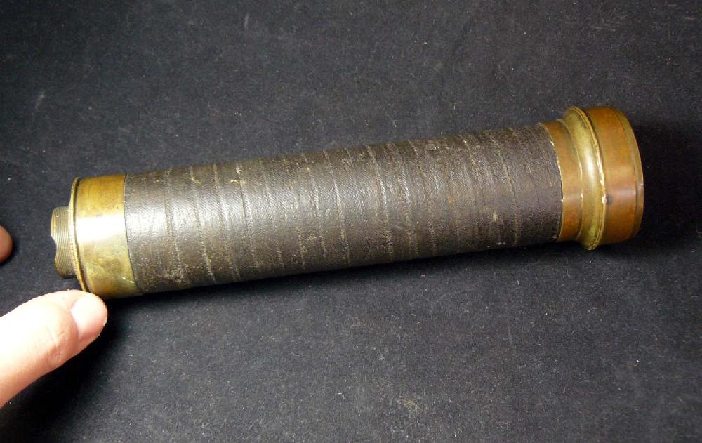 C. 1840 Austrian Brass Three-Draw Telescope by maker Prokesch of Vienna.
