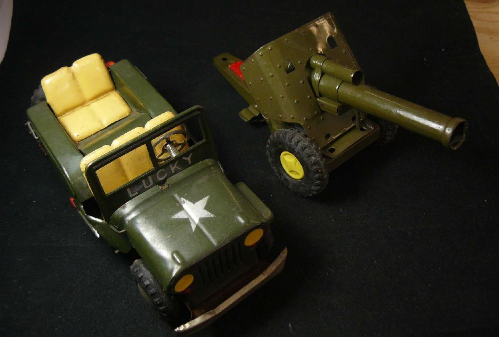 Vintage Japan Toy Jeep and Artillery Gun.