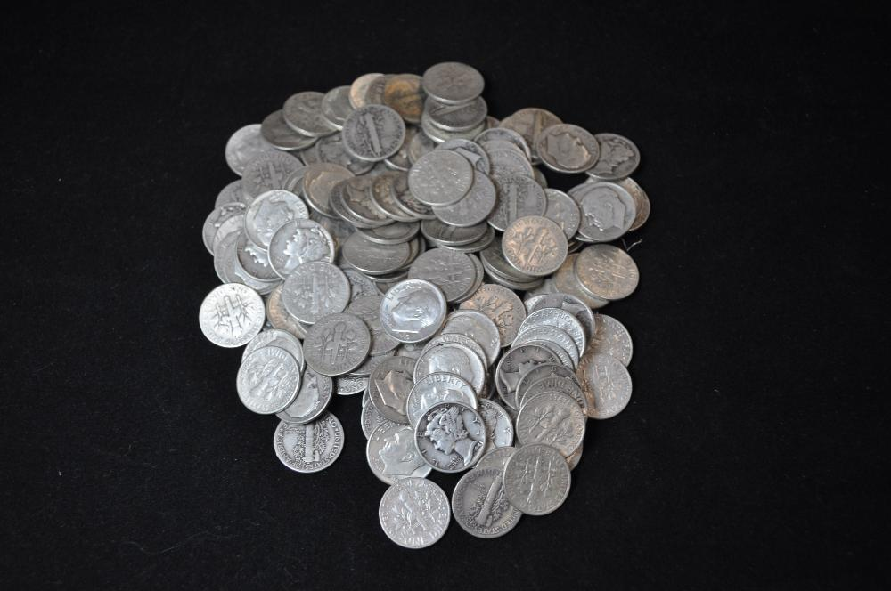 $14.50 face value silver dimes. All '64 or earlier. Eisenhower and Mercury mix.