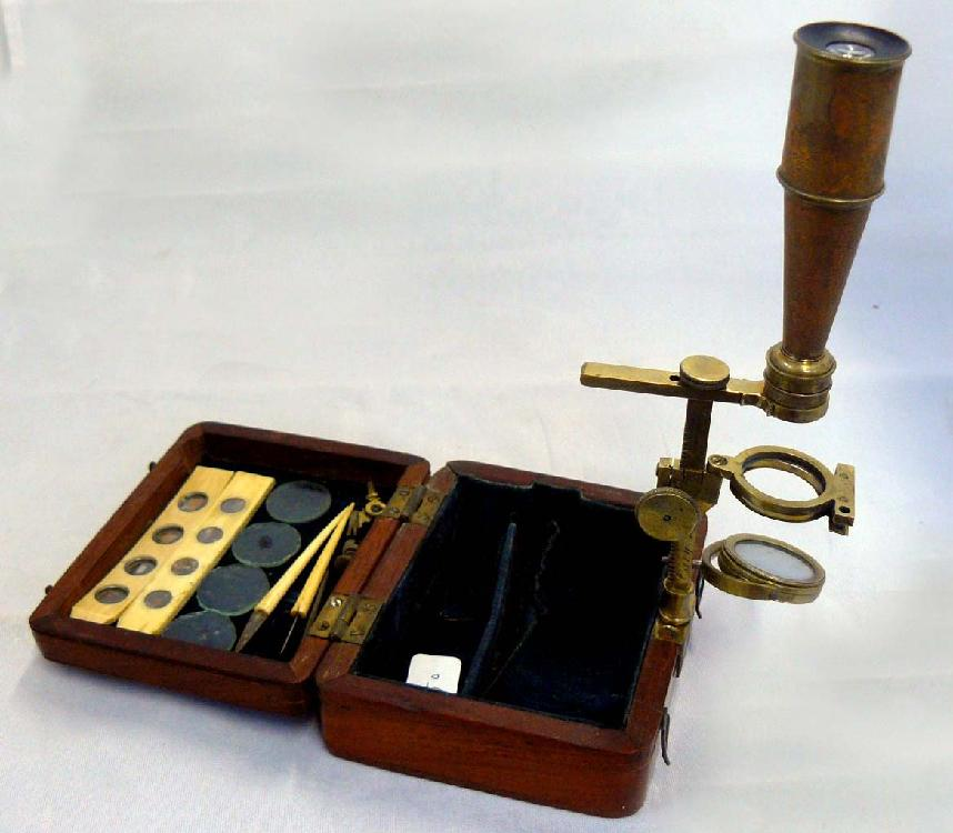 c. 1830 Gould-type Naturalist's Miniature Microscope, signed Cary.