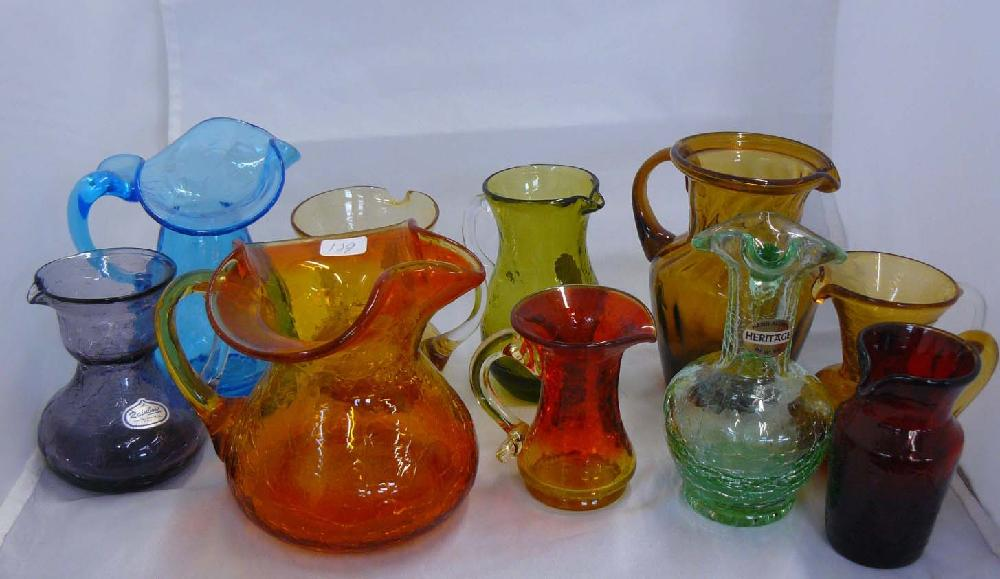 10 pieces American Hand blown colored glass.