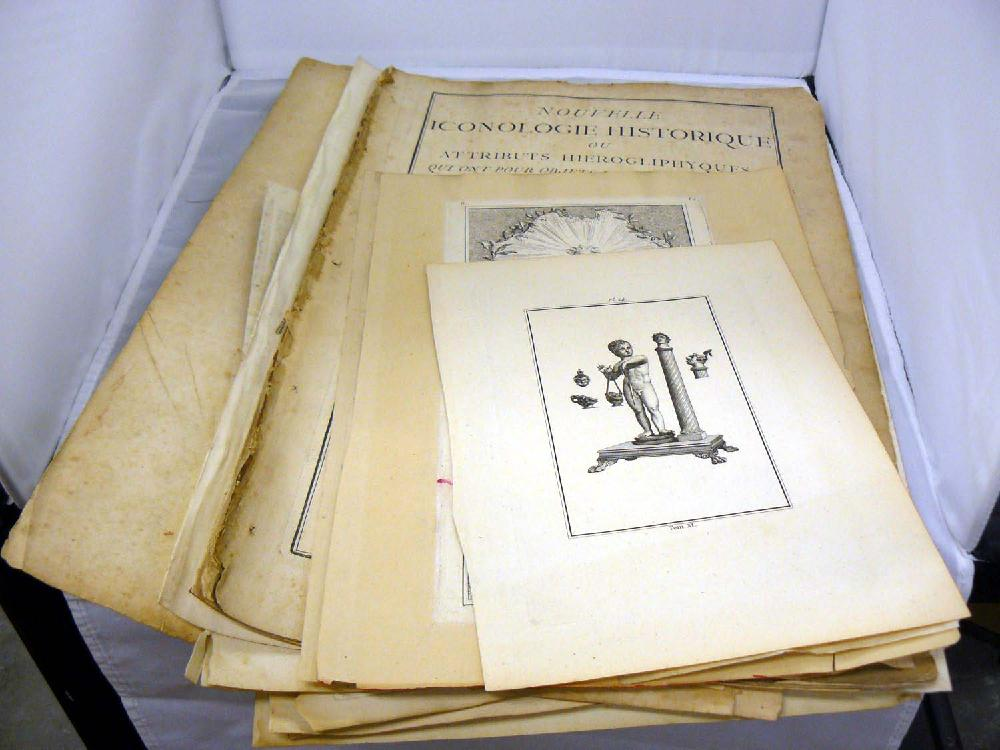 Very large lot 1600s and 1700s prints, decorative illustrations etc.