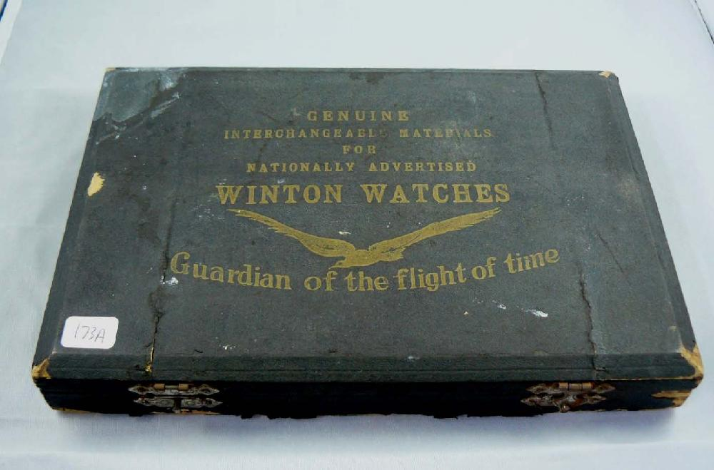 Fantastic 1800s Winton Pocket Watches box FILLED with parts.