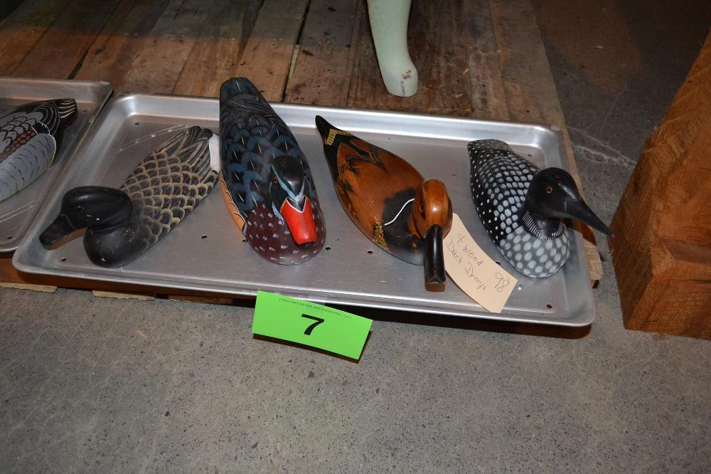 4 Wooden Duck Decoys