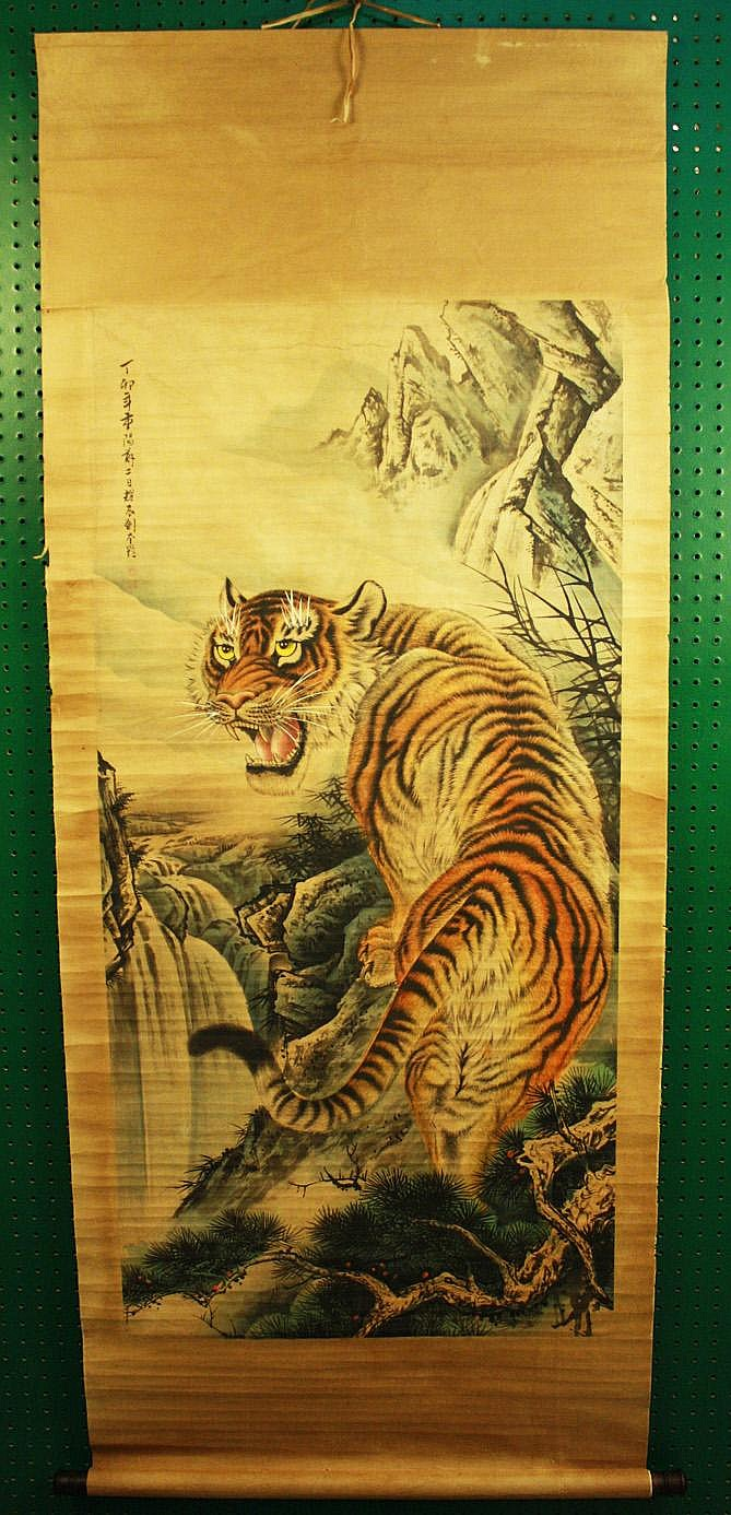 CHINESE WATERCOLOR SCROLL. Depicting a filagree