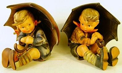 """IMPORTANT LARGE HUMMEL UMBRELLA BOY AND GIRL. 152A & B. 8"""". With old marks."""