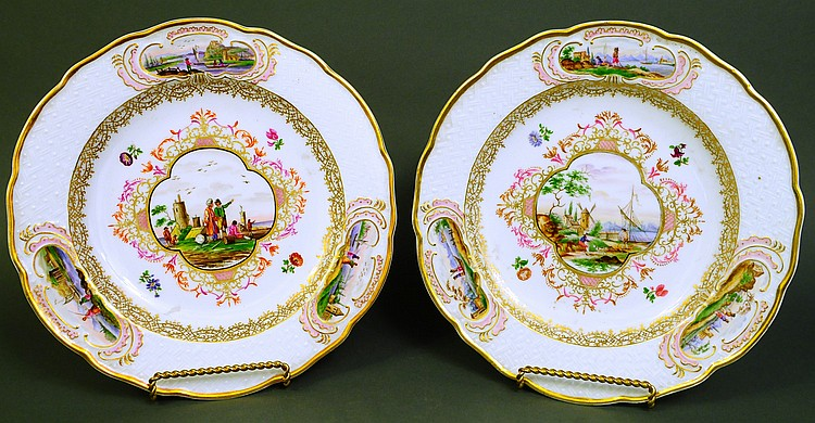 FINE OUTSTANDING PAIR OF MEISSEN TOPOGRAPHICAL