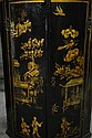 PAIR OF BRITISH CHINOISERIE DECORATED BOW FRONT