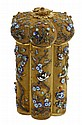 Chinese Export Gilded Filigree Silver and Enamel Tea Caddy, late 19th c., each of the hexagonal lobes decorated with birds on a flow...