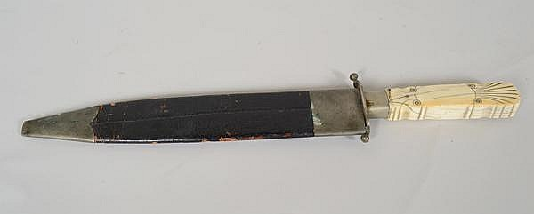 SHORT SWORD WITH BONE HANDLE. Short sword/ knife with carved bone handle and leather and metal sheath. Marked: blade impressed s. Jackson. Size: sword: 16 1/4''L. 1 5/8''W blade. sheath. 12''L. Condition: age appropriate wear.