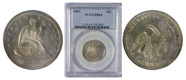 1863 Seated Liberty Quarter