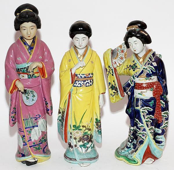 """JAPANESE PORCELAIN GEISHAS, THREE, H 18"""" & 20"""""""