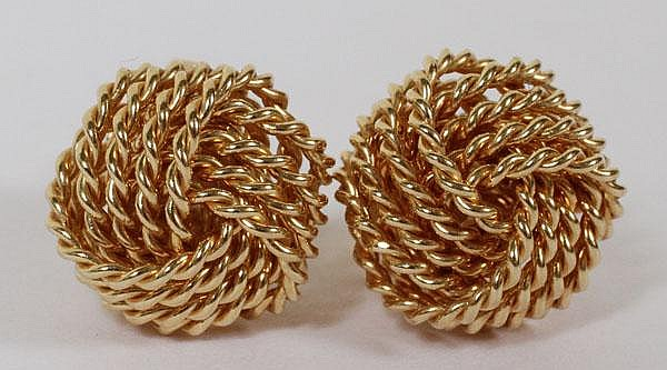 TIFFANY & CO. 14KT YELLOW GOLD KNOT EARRINGS