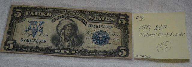 1899 $5 1 papa silver certificate