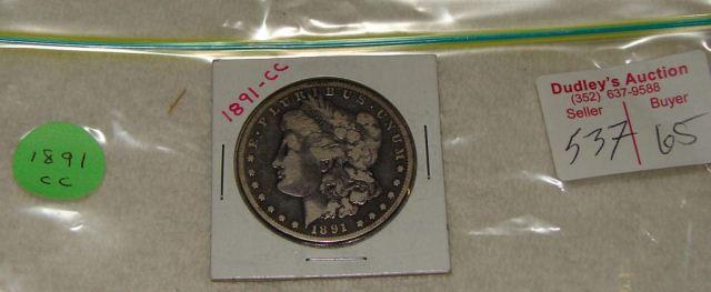 1891cc Morgan silver dollar