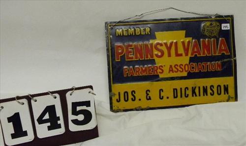 Member Pennsylvania Farmers' Association Jos. & C. Dickinson Sign