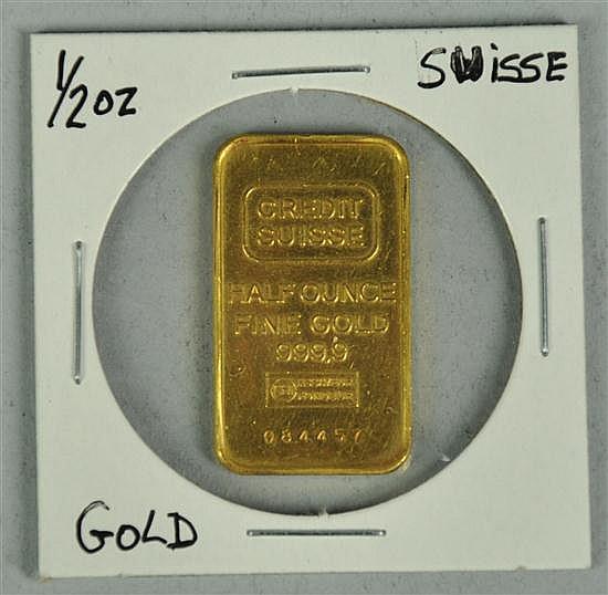 1/2 Ounce 999.9 Fine Gold Suisse Ingot