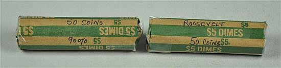 Two Rolls of Circulated Roosevelt 90% Silver Dimes