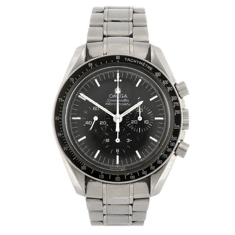 (0000291) A stainless steel manual wind gentleman's Omega Speedmaster bracelet watch.