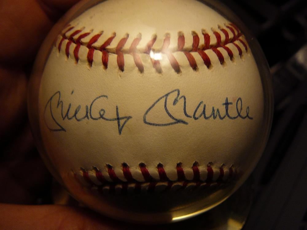 Autographed Basedball by Mickey Mantle