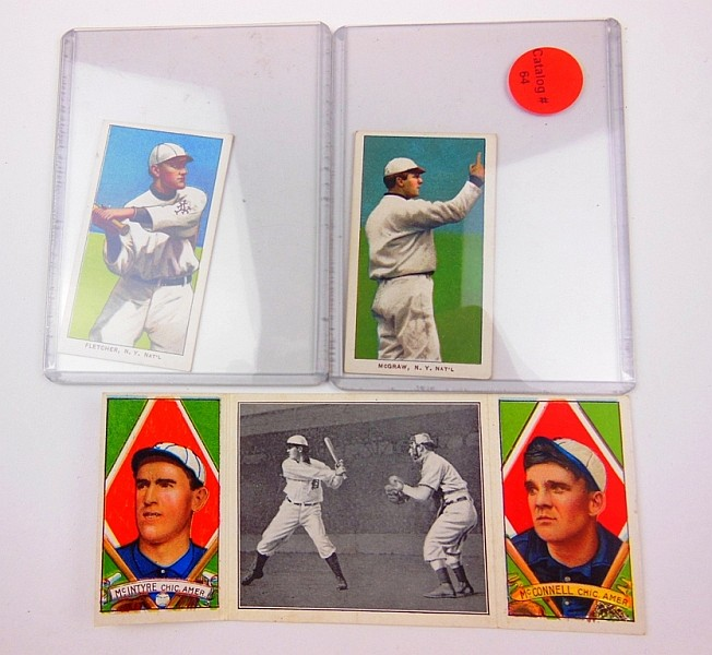 LOT OF TOBACCO CARDS AND HASSAN TRIPLE FOLDER CARD FLETHCHER NY NATIONALS, MCGRAW NY NATIONALS, AND A. MCCONNELL - MAT. MCINTYRE, AND MCINTYRE AT BAT