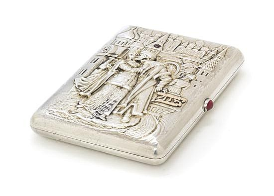 A Russian Silver, Gold and Gem Inset Cigarette Case, Width 4 3/5 inches.