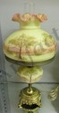 """Fenton Burmese Lamp """"Trees Scene""""21""""H, Hand Pianted Signed by Artist, Dated July 1973, #551,"""
