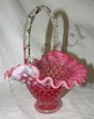 "Fenton Art Glass Cranberry Opalescent Hobnail Small Basket, 5 1/2""H, EC"