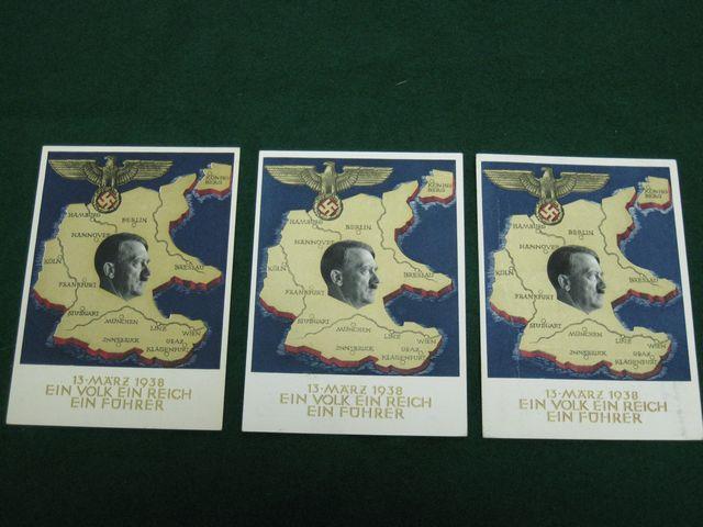 (3) 1938 Hitler Propaganda Post Cards
