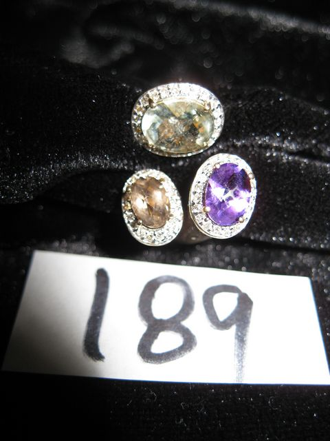 14K Ring with Green Amethyst, Purple Amethyst, Smoky Quartz and Diamonds