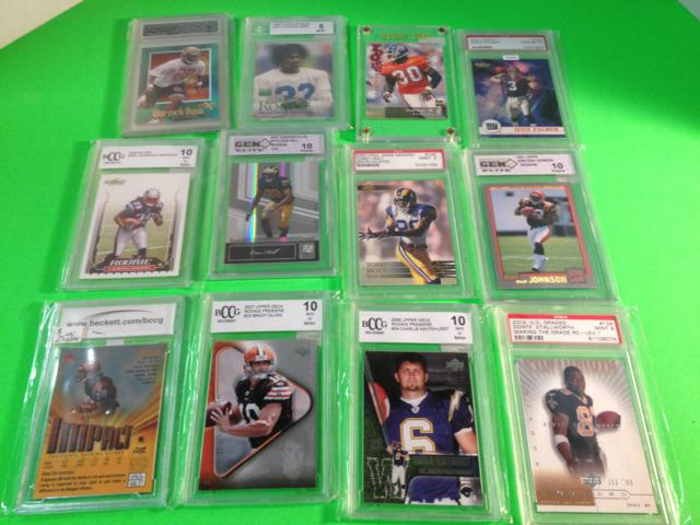 12 Graded 8 or Better Football Cards in Hard Case