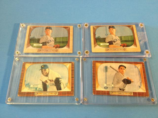 4 cards one money - 2 Whitey Ford, Yogi Berra & Willie Mays 1955 Bowman