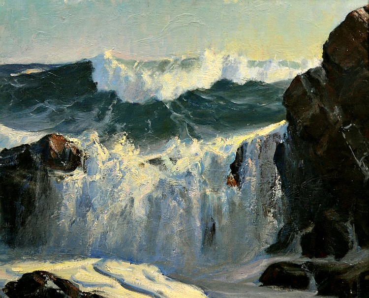 O/B 'Monhegan Break' Frederick Judd Waugh C. 1890