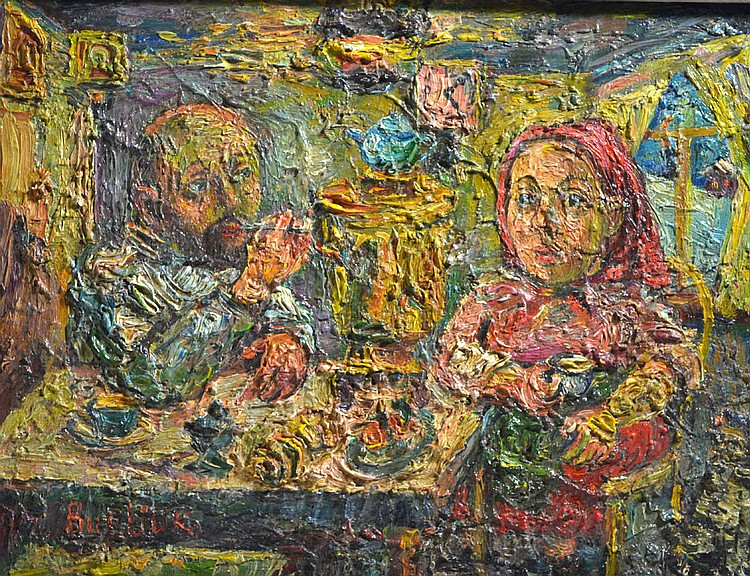 O/CB, David Burliuk 'Couple Drinking Tea'