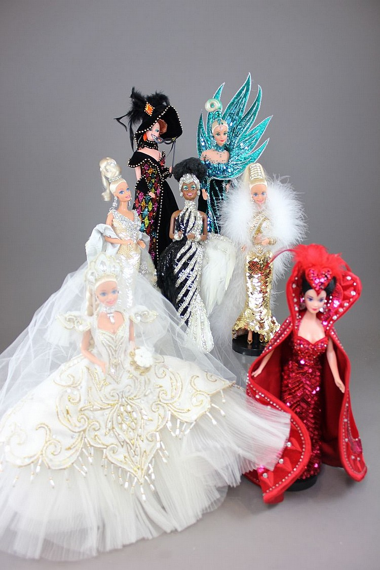 (7) BOB MACKIE BARBIES INCLUDING EMPRESS BRIDE