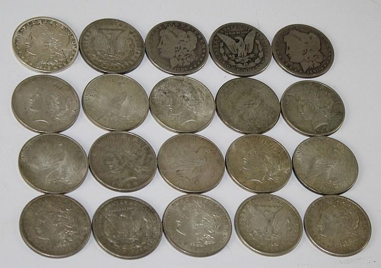 20 US Morgan and Peace silver dollars