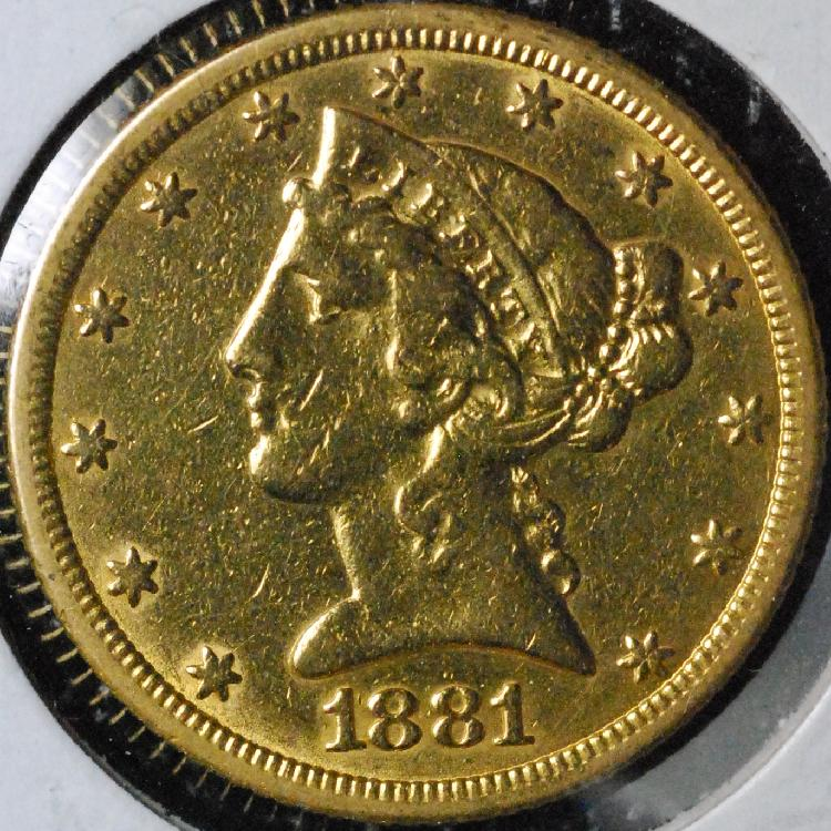 1881 United States $5.00 Half Eagle Gold