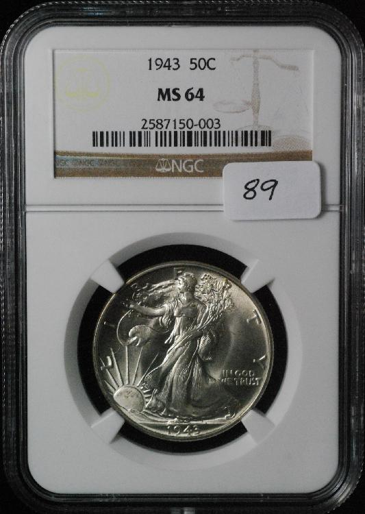 1943 Walking Liberty Half Dollar MS 64 NGC