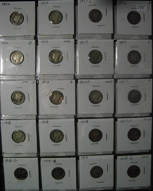 Lot of 40 Early Mercury Dimes
